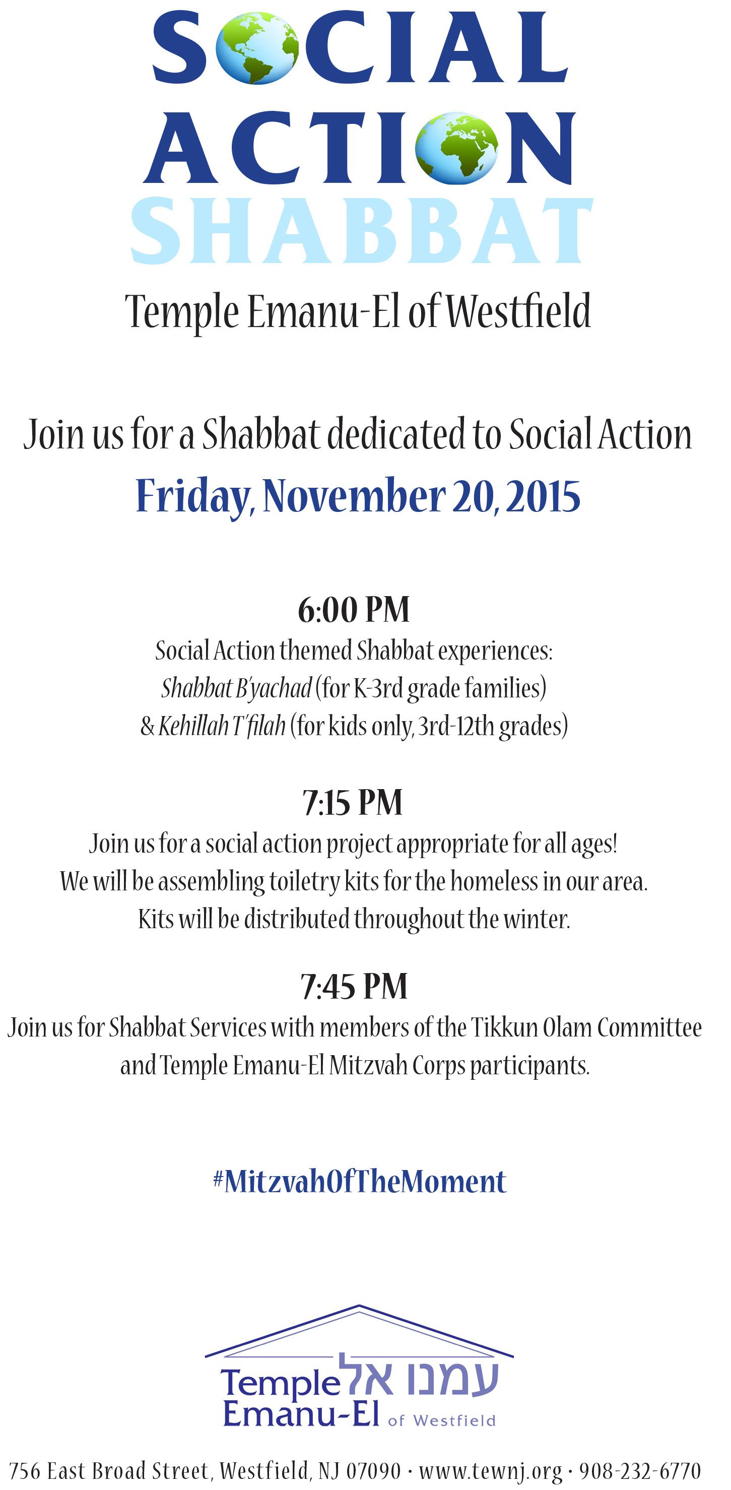 social action shabbat Nov 2015