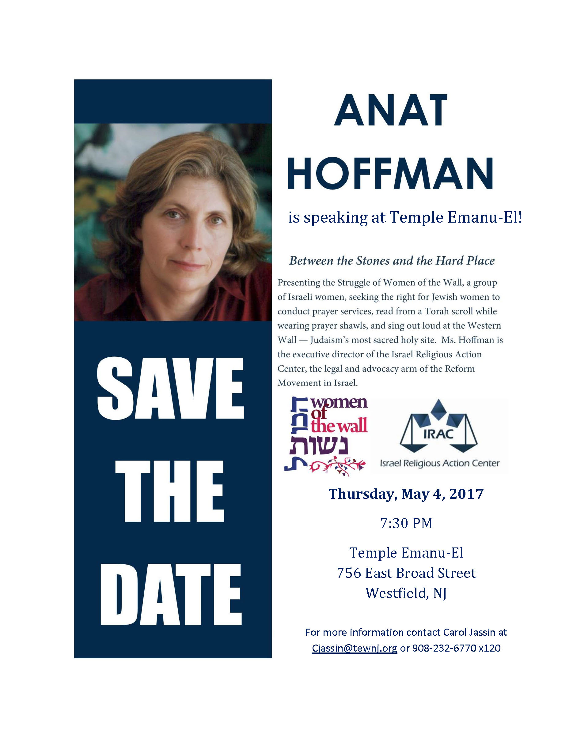 Anat Hoffman Save the Date